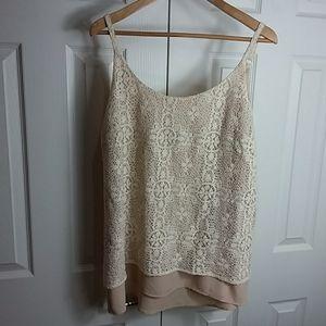 CAbi Crocheted Layered Cream Camisole  Sz L